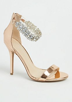 Rose Gold Stone Embellished Stiletto Heels