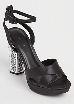 Black Sateen Octagon Stone Embellished Heels