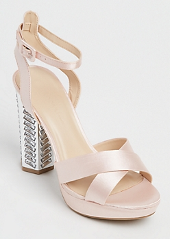 Pink Sateen Octagon Stone Embellished Heels