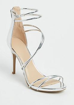 Metallic Silver Strappy Stilettos