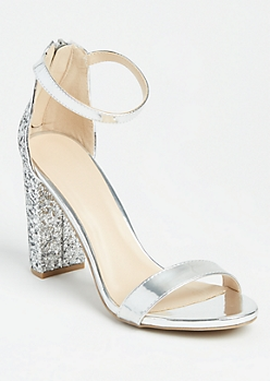 Silver Glitter Strappy Stacked Heels
