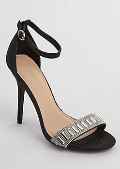 Black Glitter Stone Embellished Stilettos