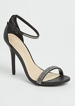 Black Stone Embellished Stilettos