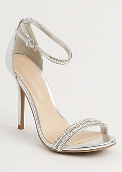 Silver Stone Embellished Stilettos