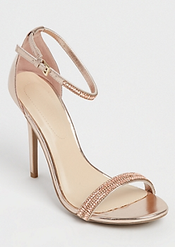 Rose Gold Stone Embellished Stilettos