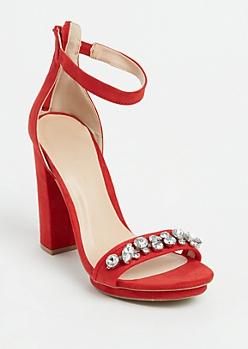 Red Faux Suede Stone Embellished Platform Heels