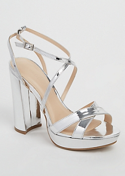 Metallic Silver Cross Strap Platform Heels