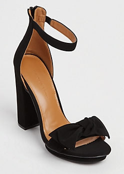 Black Faux Suede Bow Heels
