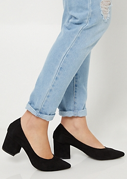 Black Pointy Toe Block Heels