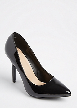 Black Faux Patent Leather Stilettos