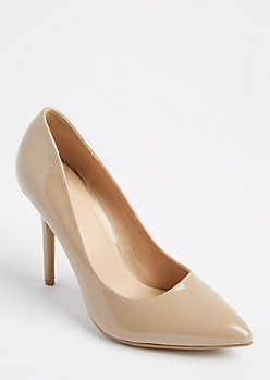 Nude Faux Patent Leather Stilettos