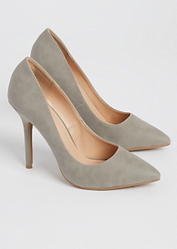 Gray Faux Suede Stiletto Heels