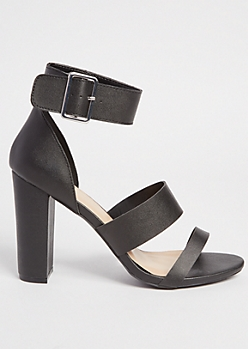 Black Faux Leather Triple Strap Heels
