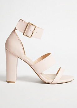 Pink Faux Leather Triple Strap Heels