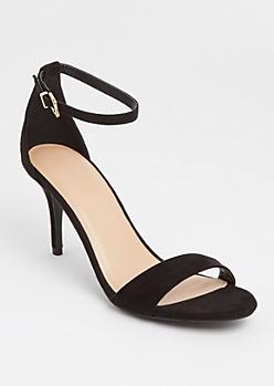 Black Buckled Ankle Strap Stilettos