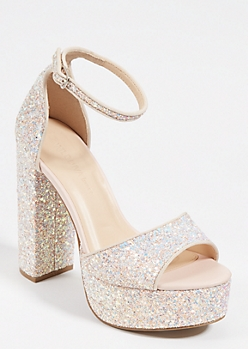 Nude Glitter Platform Block Heels