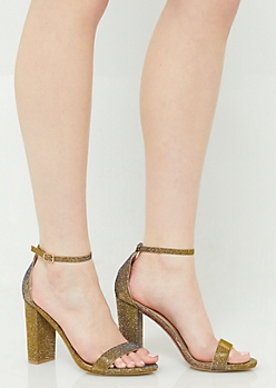 Gold Glitter Open Toe Block Heels