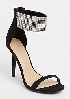Black Embellished Ankle Strap Stilettos