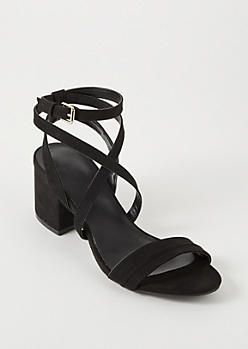 Black Strappy Wrap Around Low Heels