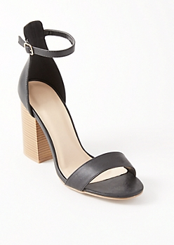 Black Ankle Back Block Heels