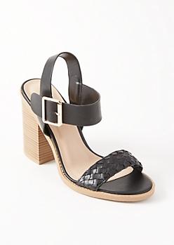 Black Woven Toe Block Heels