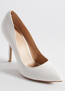 White Faux Leather Stiletto Heels