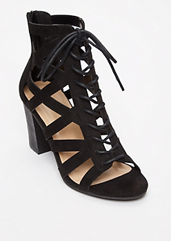 Black Lace Up Cutout Pumps