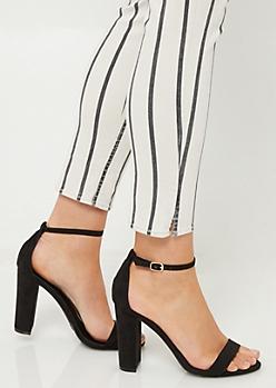 Black Classic Strap Open Toe Heels