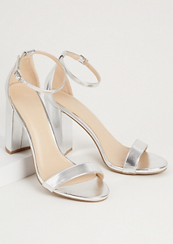 Silver Faux Leather Strap Open Toe Heels