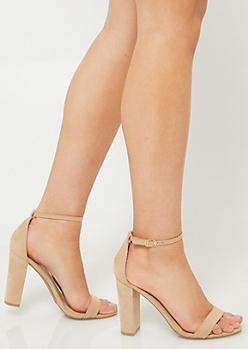 Nude Classic Strap Open Toe Heels