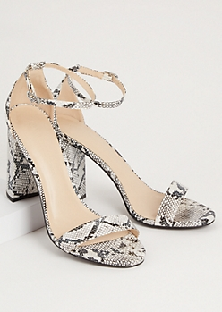 Snakeskin Print Faux Leather Strap Open Toe Heels