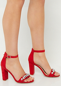 Red Rhinestone Strap Open Toe Heels