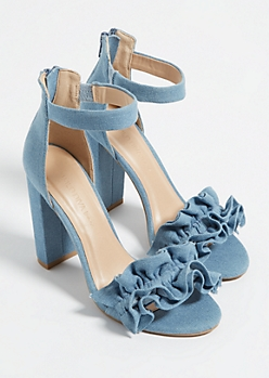 Denim Ruffle Strap Open Toe Heels