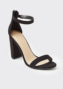 Black Faux Suede Open Toe Block Heels