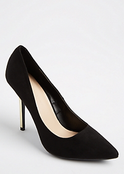 Black Faux Suede Mirrored Stilettos
