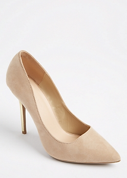 Oatmeal Heather Faux Suede Mirrored Stilettos