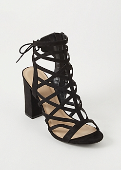 Black Cutout Caged Open Back Heels
