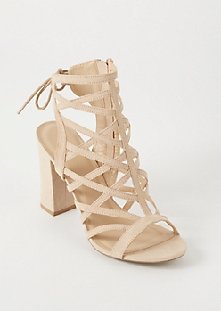 Nude Cutout Caged Open Back Heels