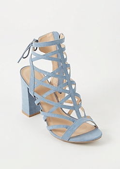Blue Cutout Caged Open Back Heels