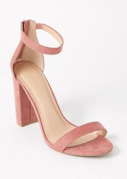 Pink Single Strap Block Heels