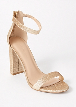 Gold Glitter Single Strap Block Heels