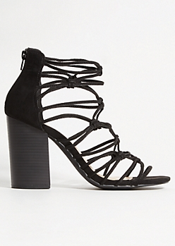 Black Knot Strappy Peep Toe Heels