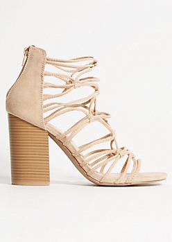 Nude Knot Strappy Peep Toe Heels