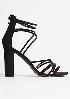 Black Faux Suede Strappy Heels
