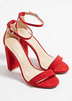 Red Classic Strap Open Toe Heels