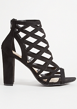 Black Diamond Cutout Block Heels