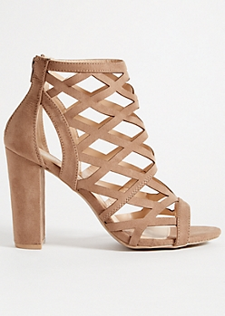 Beige Diamond Cutout Block Heels