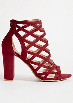 Burgundy Diamond Cutout Block Heels