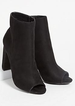 Black Faux Suede Side Zip Peep Toe Heels