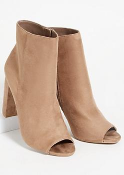 Beige Faux Suede Side Zip Peep Toe Heels